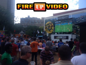 mobile led jumbotron big screen tv rental for outdoor event football tailgating viewing party