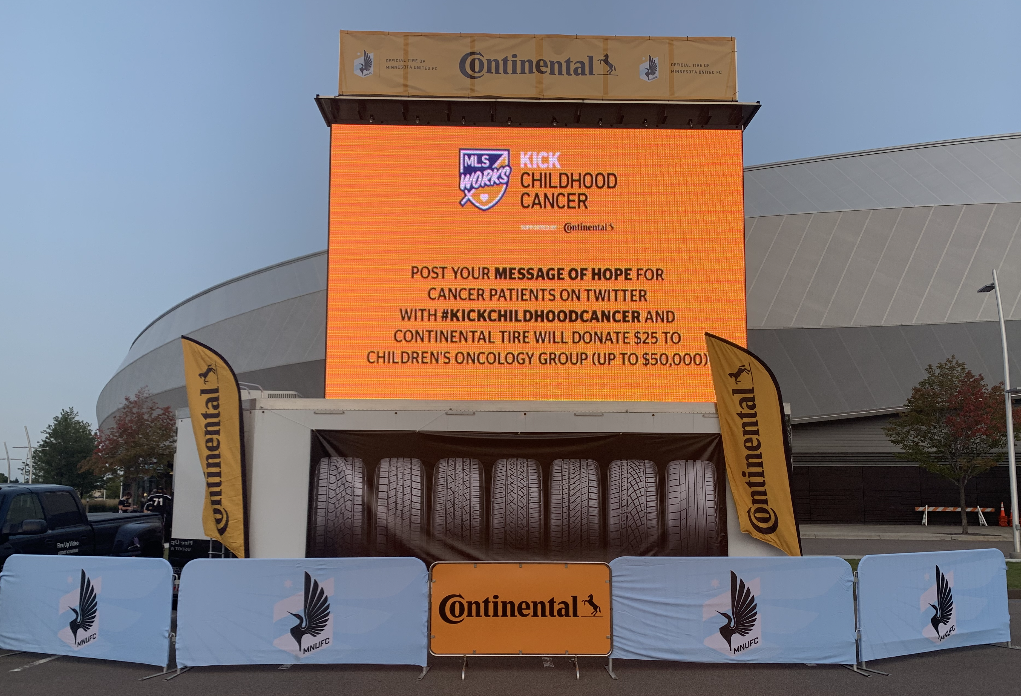 rent a mobile led video screen for your outdoor event with sponsor banner space available