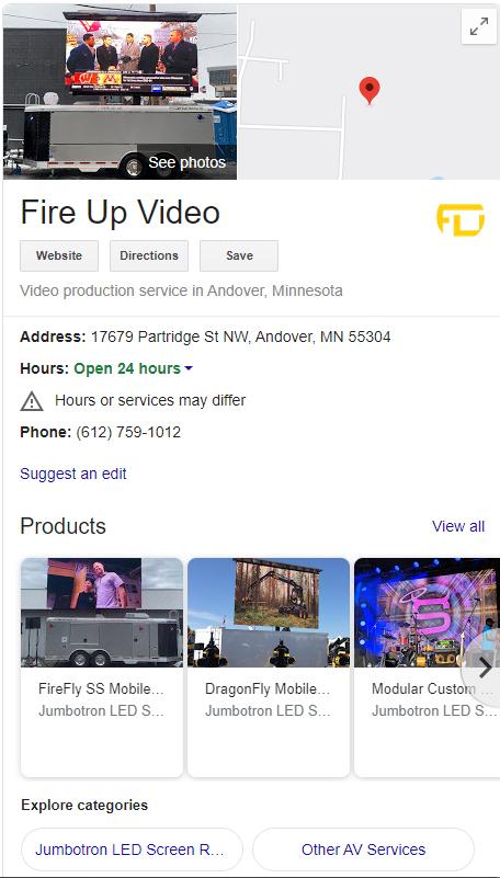 jumbotron rental google my business profile
